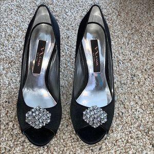 Nina Jeweled Heels Satin and Leather